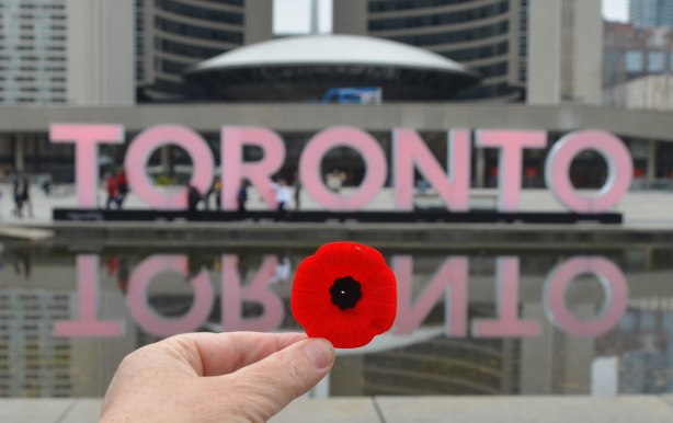 A remembrance day poppy is in the foreground. It is being held up in front of the 3D toronto sign which has been lit in red for Remembrance Day