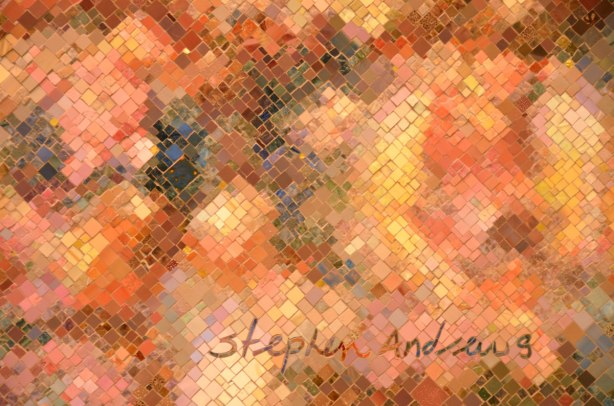 close up of a mosaic by Stephen Andrews with his signature on it.