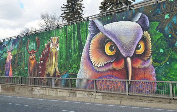 a large owl in a mural