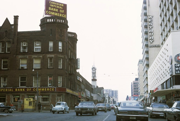 old photo from about 1970 looking north up Yonge Street from College Street. Oddfellows Hall is on one corner with main tenant as Canadian Imperial Bank of Commerce. Old fire hall tower is in the distance.