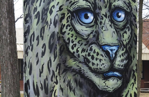 close up of street art painting of a greenish grey leopard with blue eyes, nose and mouth