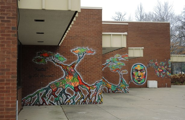 murals on three walls at the Driftwood Community Centre, two trees and a large face