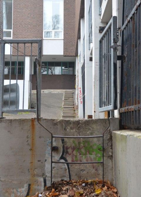 steps behind a school