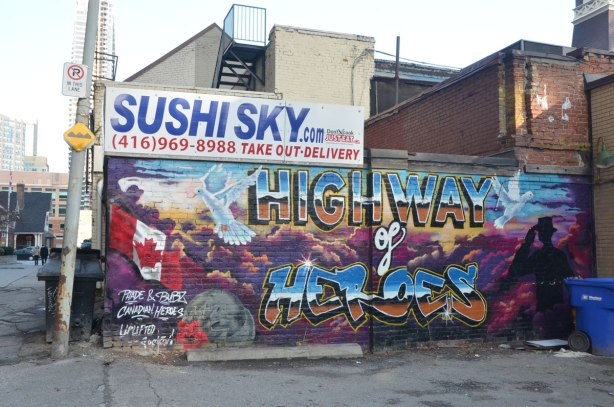 A mural commemorating the Highway of Heroes