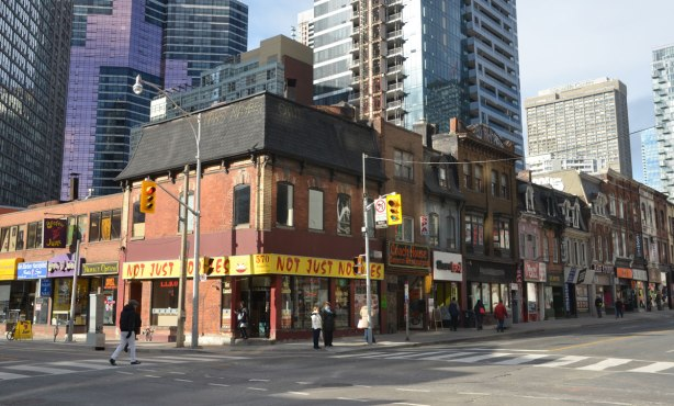 not just noodles restaurant on the corner of Yonge and Wellesley as well as more stores going north up Yonge Street.