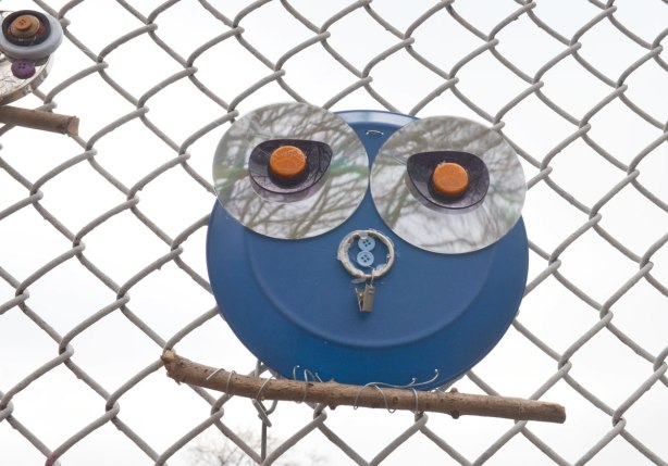 owls made of recycled goods, foil pie plates, CDs, bottle tops, there feet are wrapped around twigs and they are attached to a chainlink fence - also blue buttons for the nose