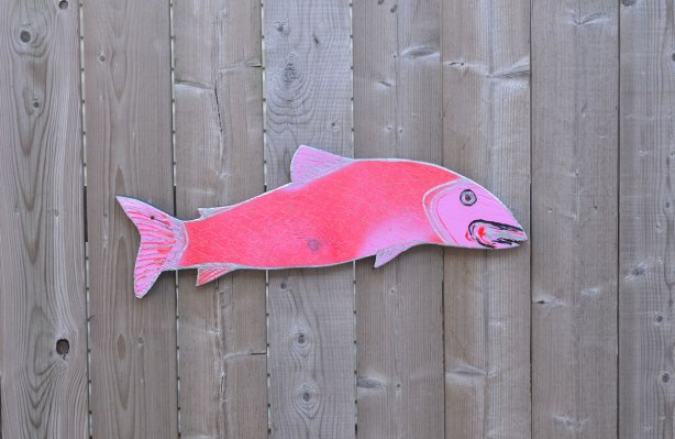 a two tone pink fish painted on wood, cut out, and nailed to a wood fence.