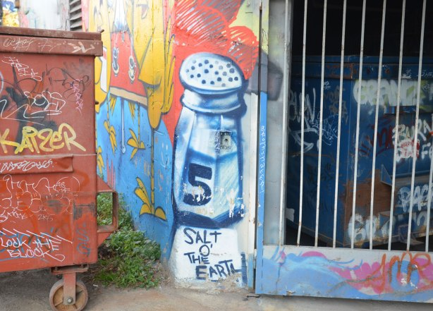 graffiti street art in an alley - a large salt shaker with the words Salt o' the Earth written below it. A garbage bin is beside it.