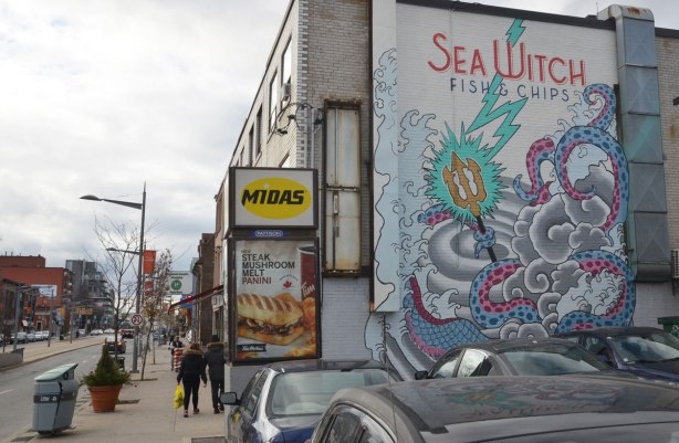 mural for Sea Witch FIsh and Chips restaurant, a large sea serpent