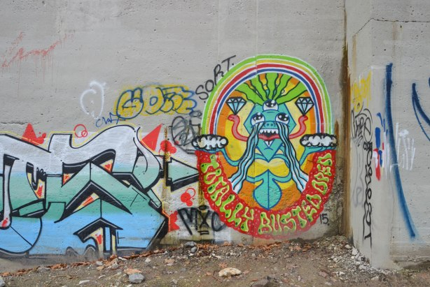 graffiti on concrete bridge supports - with words totally busted oren