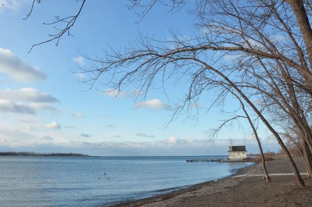 Cherry Beach lifesaving station in the distance, shoreline of Lake Ontario