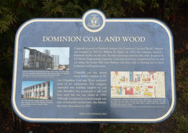 City of Toronto historical plaque describing the history of the Dominion Coal and Wood silos that used to be on Mt. Pleasant Ave near the old Belt Line Railway tracks.