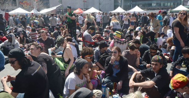 Crowds at Yonge Dundas Square celebrating 420 day