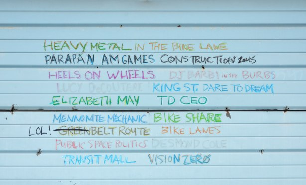 a list of things and people written in capital letters, in different colours on a light blue garage door