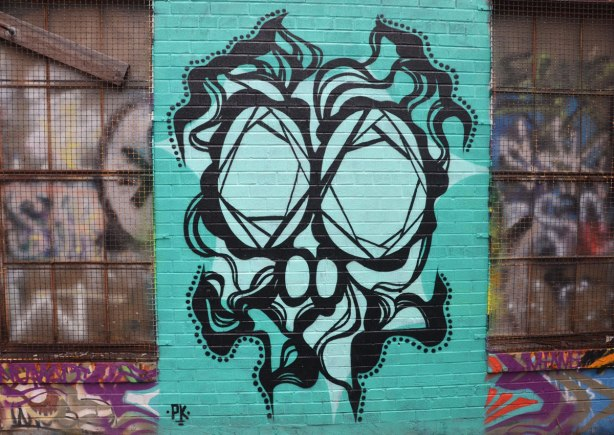 alley laneway streetart by artist PK of a stylized face, or could be a skull - intricate black line drawing of skull and facial features on teal background