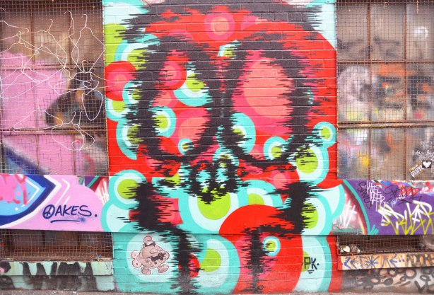 alley laneway streetart by artist PK of a stylized face, or could be a skull - black spray paint outlines of features on multicoloured background - on a brick wall between two windows, small turtlecaps paste up also in the picture