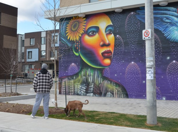 A man with a dog an a leash is walking by a mural of a brightly coloured woman;s face, with a flower in her hair and her body (from the shoulders up) made of buildings in a jumble. Painted by Shalak Attack in Regent Park