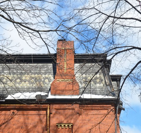leafless tree branches above an older red brick house with a mansard black slate roof and a feww yellow brick details