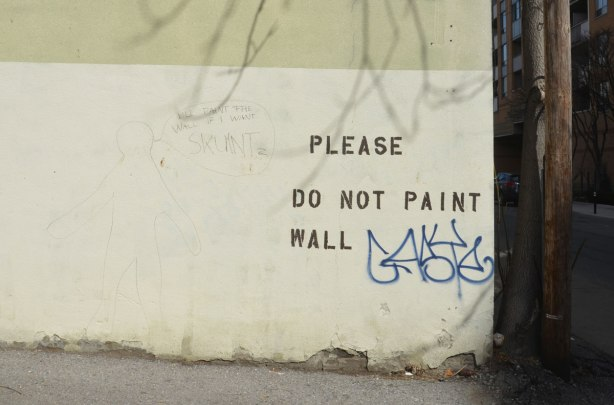 "An off white coloured wall on which someone has printed the words ""Please do not paint wall"". In answer someone else has drawn a picture (very faint so it's hard to see)"