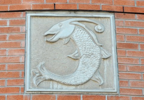 bas relief sculpture of a fish, square stone on a brick wall above the entrance way to a condo building.