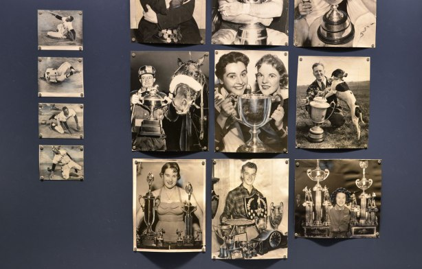 old photographs, black and white, of people with trophies, in a display case, as part of an exhibit called Cutlines, old photos from the Globe and Mail collection