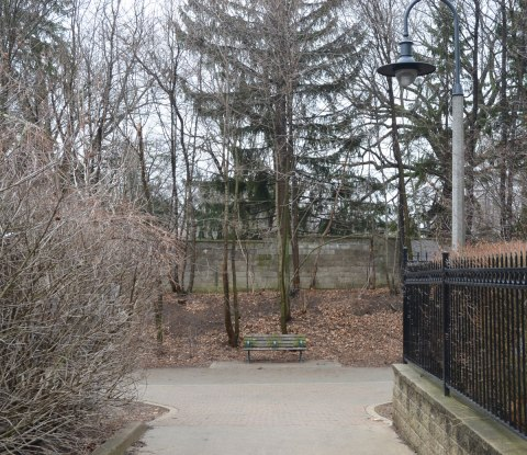 between winter and spring, the snow has melted, there are no leaves on the trees, the weather is grey, looking down a path that comes to an end in front of a bench. Behind the bench are trees, dead leaves on the ground, and a grey stone fence. dreary, grey