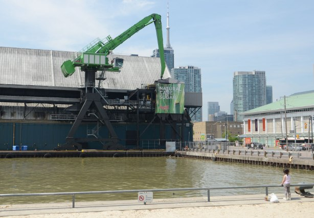 a little girl in the foreground, standing beside a squared opening in the harbour for ships to come in, beside the Redpath Sugar refinery building on the waterfront with its green cranes and greenish blue building
