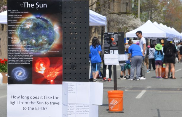 A sign stands in the street with information about the sun on it. Behind it is a second sign, this time with information about Mercury. Behind that are people at Science Rendezvous on St. George street