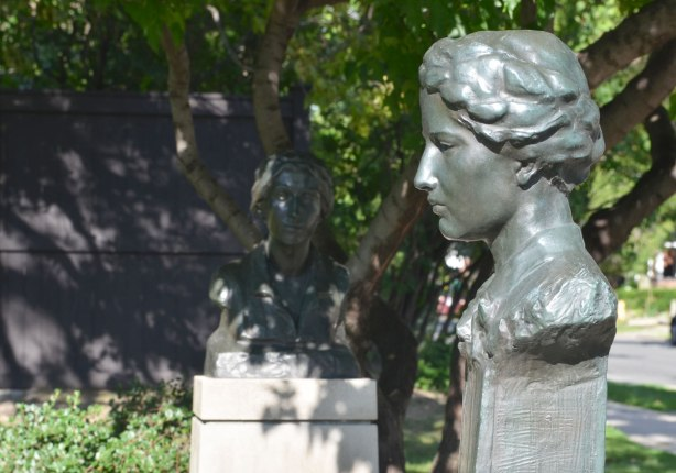 bust of Florence Wyle, a Canadian sculptor, in a park