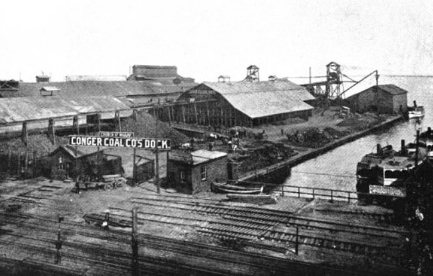 historical picture of the old COnger COal Co wharf at the bottom of Church street.
