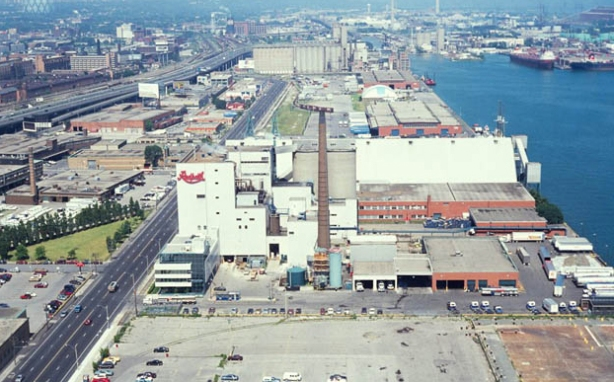 aerial view of the East Wharf portion of the Toronto wateterfront, vintage photo from the 1970's or 1980's