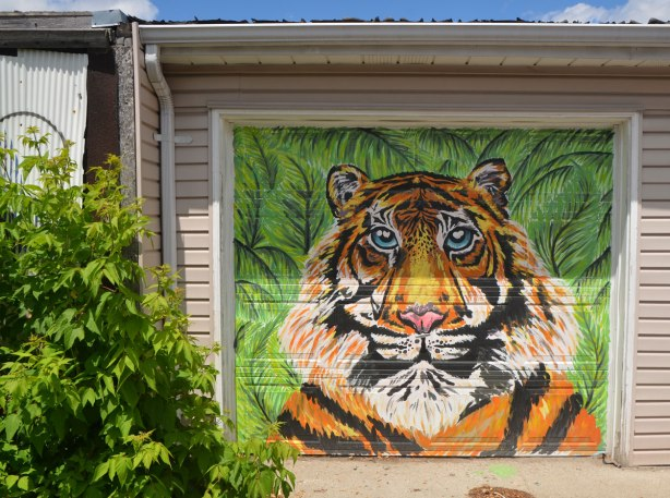 graffiti street art animals painted on garage door in an alleyway - a tiger's head