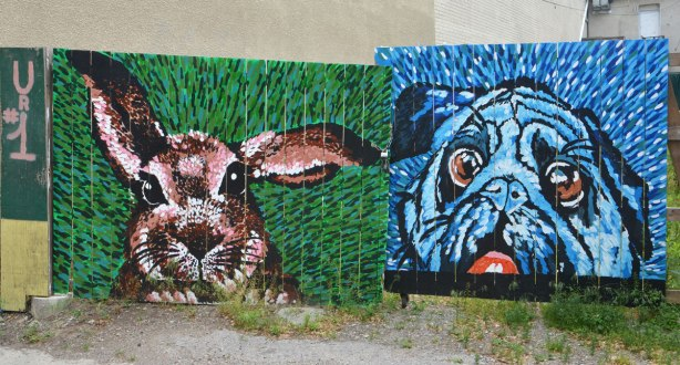 Two sections of a fence painted with animal heads - a brown bunny on a green grass background and a blue pug dog