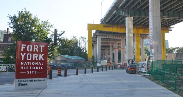 entrance to Fort York, under the Gardiner, still a construction site but nearing completion