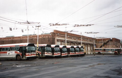 historical picture of Lansdowne carhouse, 1996 with old TTC buses in front of the building