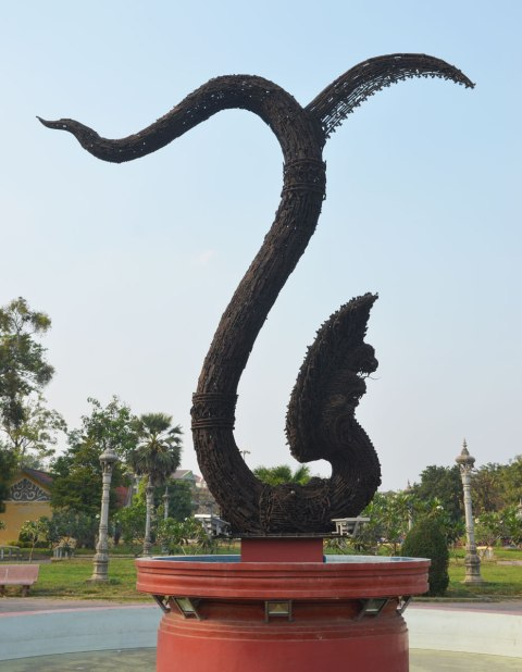 sculpture of a naga, a seven headed creature, in Cambodia