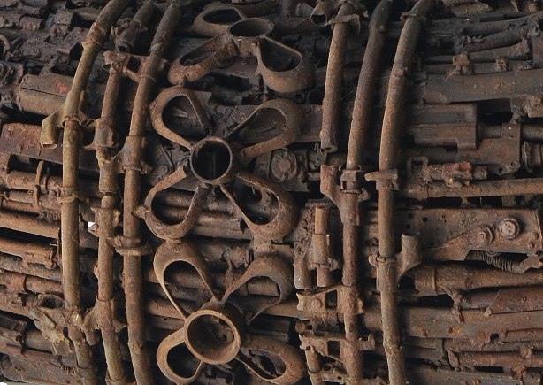 close up of Naga sculpture made with parts of destroyed weapons.