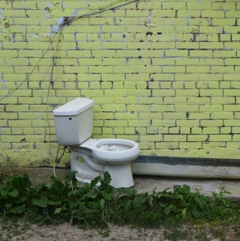 a white toilet, with a lid, sitting beside a yellow painted brick wall with weeds growing up beside the toilet, in a lane