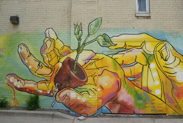 part of a mural on a wall in a lane, a pair of yellow hands, a small plant pot is in one hand, a small green seedling is growing in the pot