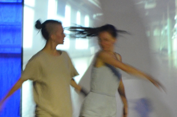 dancers performing in front a screen that's showing a video, night time, nuit rose performance