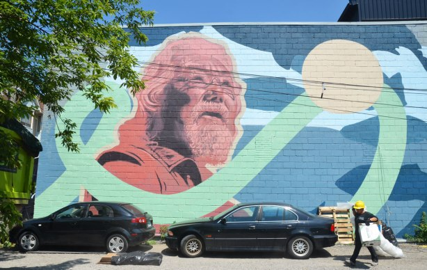 a large mural with the centerpiece being a portrait of David Suzuki