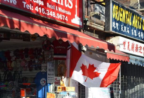 Canadian flag, store in Chinatown