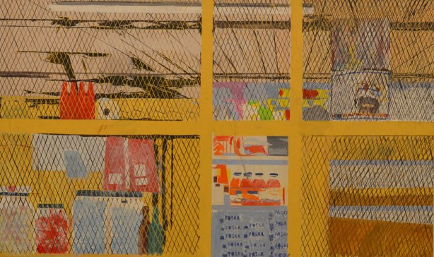 a painting by Hurvin Anderson called Foska Foska, shows the interior of a store with a yellow metal gate in front.  and a wire structure covering the ceiling too