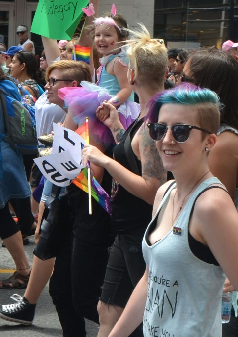 girls and women marching in a dyke march