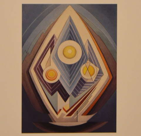 an abstract painting by Lawren Harris, circles and diamonds in an egg shape