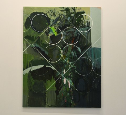 a landscape painting in shades of green with fragments of white grille overlayed, repeating pattern of 4 circles with a square