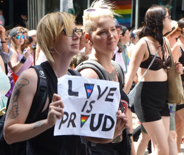 "walkers in a dyke march in Toronto - two young women walking together, one is holding a sign that says ""love is proud"""