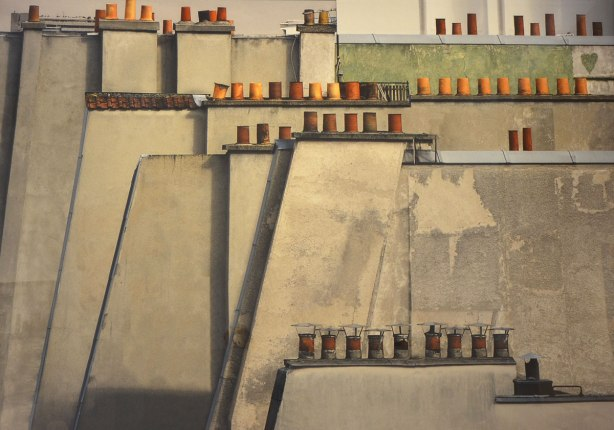 picture of a photograph by Michael Wolf of Paris rooftops. Concrete grey with lots of lines of little terra cotta chimneys