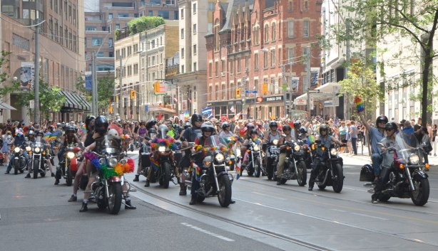 many motorcycles as part of Dykes March, downtown Toronto