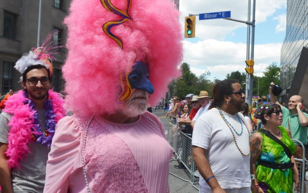 a man in drag, pink dress, and a very large pink wig.  He also has a partial mask over his face so that is forehead and very large nose look blue.